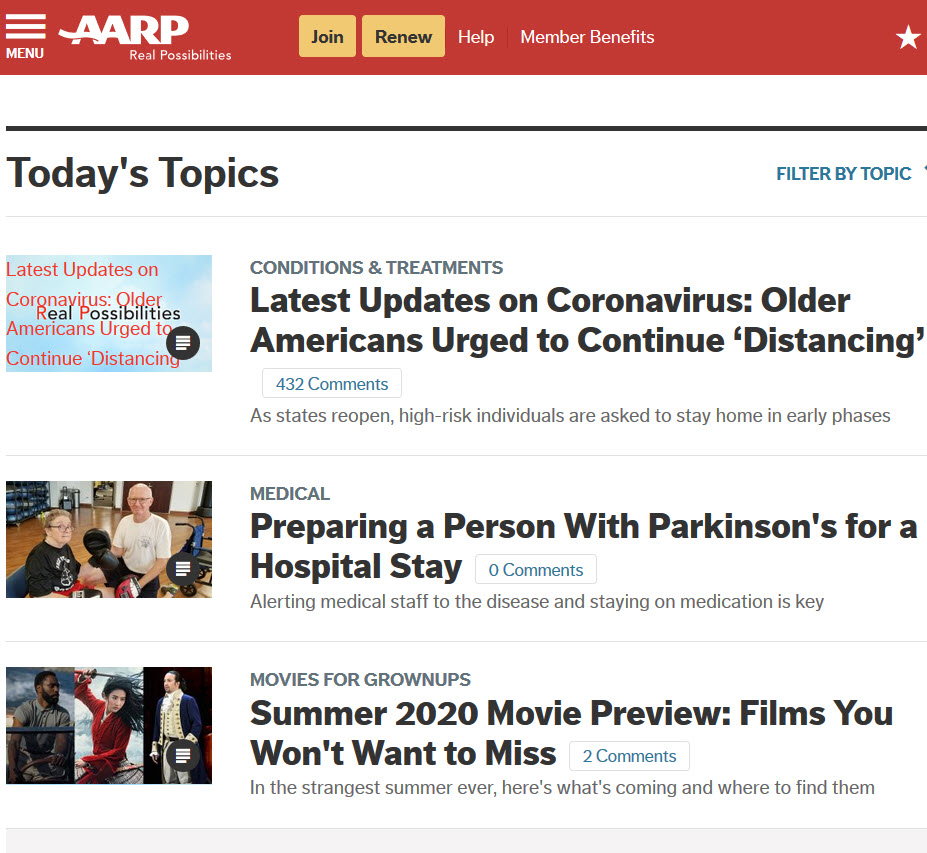 AARP Homepage