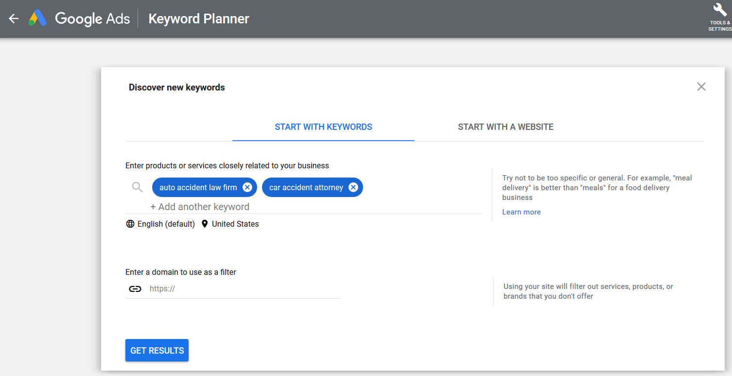 legal content marketing with keyword planner